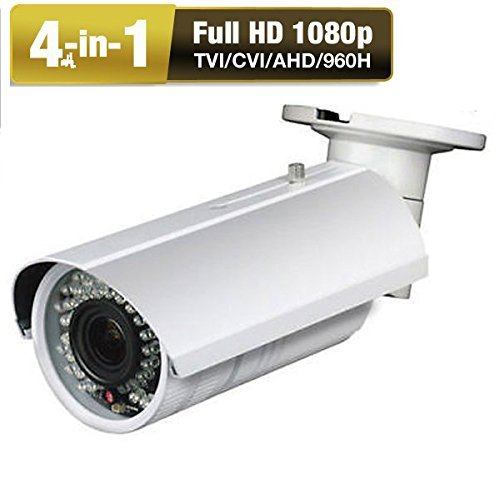Amview 4-in-1 TVI AHD CVI 960H Ture HD1080P 2.6MP Waterproof 42IR LEDs 2.8-12mm Varifocal Bullet Security Camera