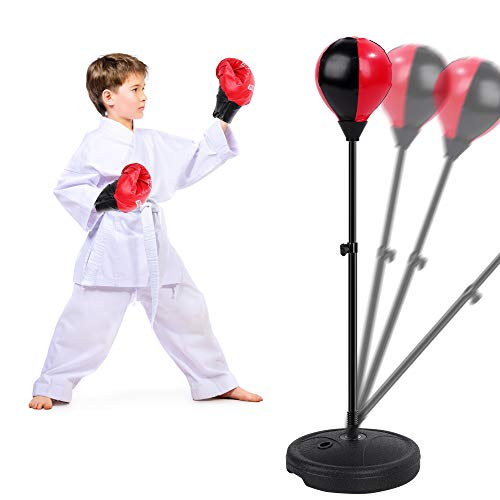 FiGoal Punching Bag for Kids Boxing Set Adjustable Stand with Strong Spring and 1 Pair of Boxing Gloves, Toys Gifts for…