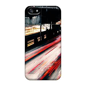 Flexible Tpu Back Case Cover For Iphone 5/5s - Highway Car Lights In Long Exposure