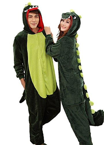 Dinosaur Costumes Women (Aoibox Unisex Adult Pink and Dinosaur Animal Cosplay Onesie Pajamas Size M?GreenDinosaur)