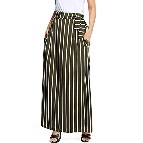 - NREALY New Women's Casual Striped Ankle-Length Chiffon Empire Lace-Up Vintage Long Skirt(M, Green)
