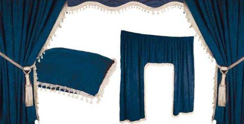 Juego de cortinas para interior de camión (5 piezas), color azul y blanco Warenhandel König