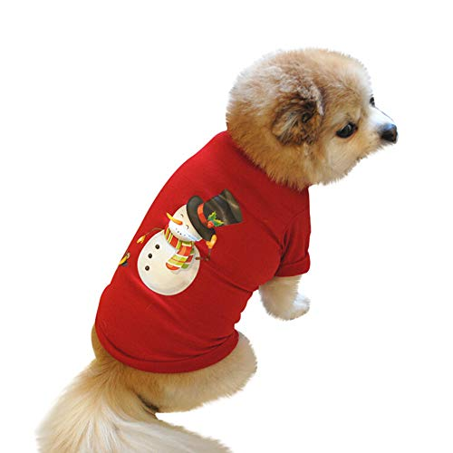 Pet Clothes Christmas, Puppy Dog Cat Sweatshirts Doggie Cute Santa Claus Print Outfits (L,Red) -