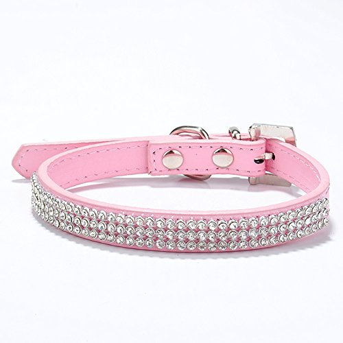 Rhinestone Dog Collar Charm (SHINYTIME 3 Rows Rhinestones Pets Collar Charms for Dogs Walking Adjustable with Small Size (27-33cm) (Pink))