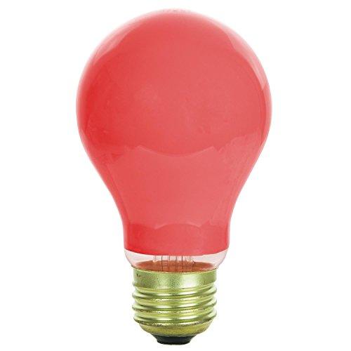 Sunlite 25A/R/2PK Incandescent 25-Watt, Medium Based, A19 Colored Bulb, Red, 2-Pack