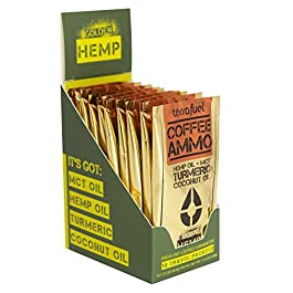 8000mg Hemp Oil Coffee Creamer – Coffee Ammo – Blend of Coconut Oil, MCT Oil, Turmeric, Stevia | Keto & Paleo, Sugar Free & Travel Ready (Golden Hemp, 10-Packet Box)