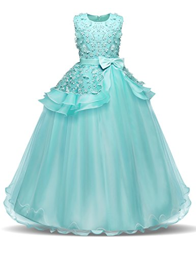 NNJXD Girl Sleeveless Embroidery Princess Pageant Dresses Kids Prom Ball Gown Size (130) 6-7 Years Green