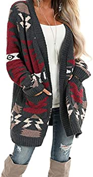 Malaven Womens Long Sleeve Popcorn Knit Open Front Long Cardigan Sweaters Coats with Pockets