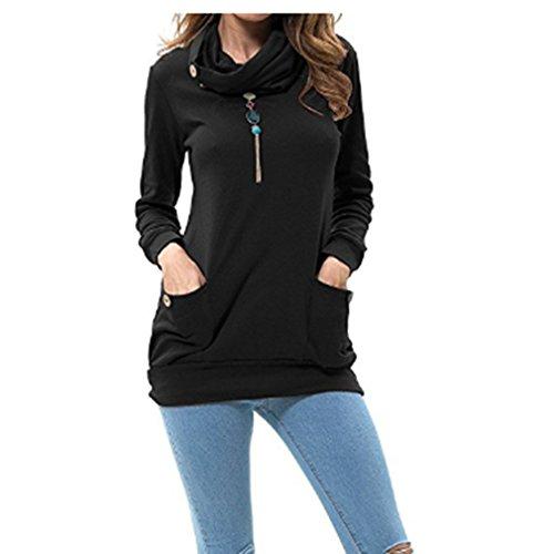 ULAKY Womens Long Sleeve Button Cowl Neck Casual Slim Tunic Top Sweatshirt,black