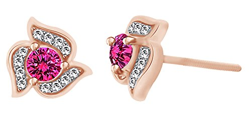 Simulated Pink Sapphire & White Topaz Fashion Stud Earrings In 10k Solid Rose Gold by AFFY