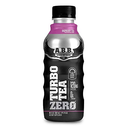 American Body Building Turbo Tea Zero, Iced Tea Flavored Supplement, Caffeine with Zero Sugar and Zero Carbs, Raspberry Tea Flavored, Ready to Drink 18 oz Bottles, 12 Count
