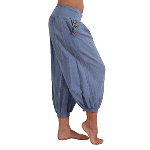Moda Mujeres Casual Pantalon Mujer Bolsillos Jogging Color Blau Battercake Casuales Cintura Verano Pirata Con Alta Sólido Harem Elegantes Pantalones De 0wxXnqnSYv