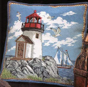 Coastal Lighthouse Pillow - Needlepoint Kit