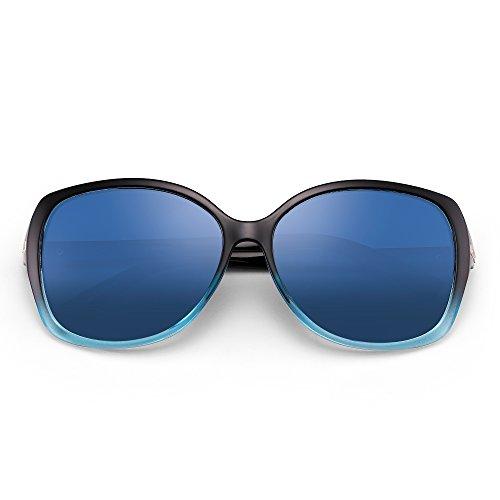 Polarizadas Polarizado Gradiente Moda Embellecer Azul de Gafas Oversized Mujer de Sol Rhinestone UPExwEqtTH