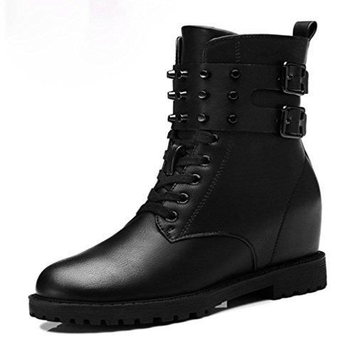 KUKI otoño y el invierno de las mujeres botas Martin botas remaches botas de las mujeres con cabeza redonda botas altas botas baratas botas negras black