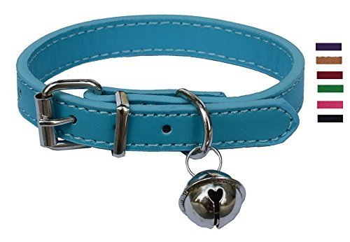 Turquoise Blue Leather Pet collars for Cats Puppy, Adjustable 8'-10.5' Kitten Collar with Bell