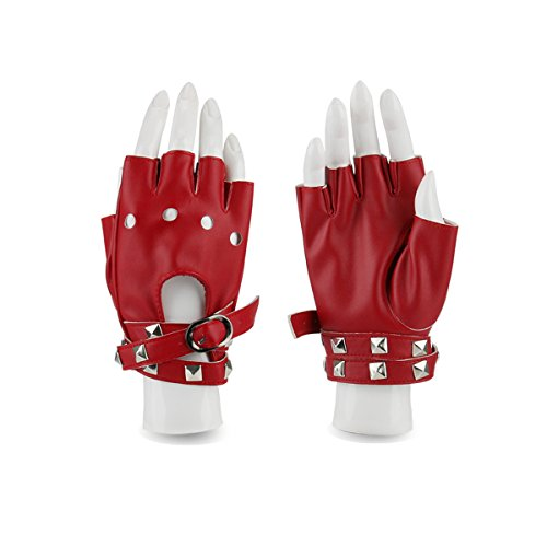Women Punk Rock Half Finger Gothic Gloves Cosplay Costume Rivets Studded Biker Driving Leather Fingerless Gloves Red (Red Leather Studded)