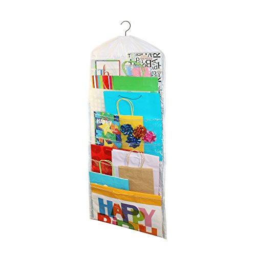 Gift Bag Organizer - Storage for Gift Bags, Bows, Ribbon and More - Organize Your Closet with this Hanging Bag & Box to Have Organization with Clear Pockets by - Bags Bows Boxes