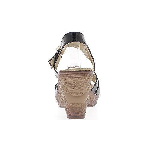 Sandales compensées femme noires vernies talon de 8,5cm