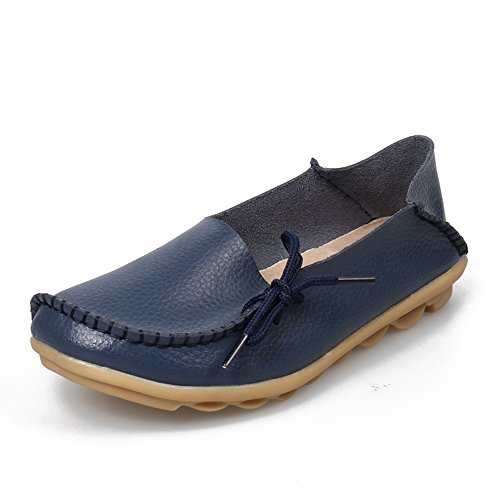 SUNROLAN Womens Leather Cowhide Casual Lace-up Slipper Slip-on Loafers Flat Driving Shoes Navy Blue