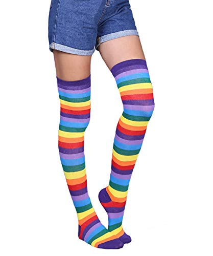 Womens Girls Long Striped Rainbow Over Knee Thigh High Socks Funny Crazy School Party Cosplay Custume Stockings, Purple Rainbow -
