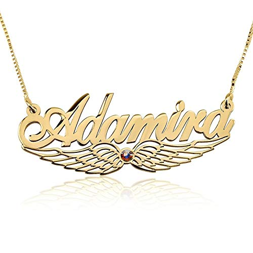 - RESVIVI Personalized Sterling Silver Name Necklace Custom Made Any Name Pendant Necklace (8th Design - Angle Wing)