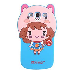Cartoon Girl with Small Candy Silicon Case for Samsung Galaxy S3/9300(Assorted Color) --- COLOR:Orange