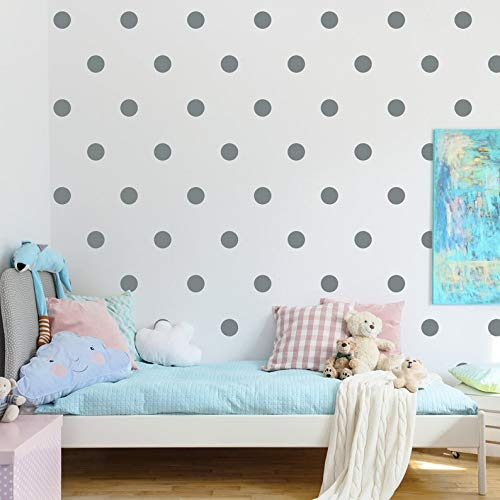 (Removable Silver Polka Dots Wall Decals for Kids Room Decoration +