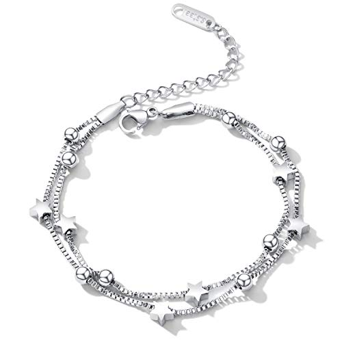 - Cupimatch Women Star Beads Two Layer Chain Bracelets, Adjustable Stainless Steel Double Strand Anklet Wrist Link Bangle Jewelry