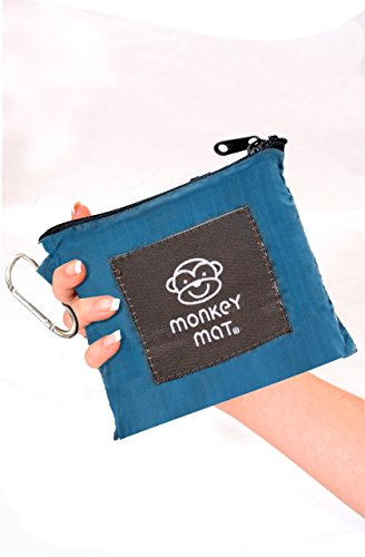 MEGA MONKEY MAT Portable Indoor/Outdoor 5'x8' Water/Sand Repellent Blanket with Corner Weights & Loops in Compact Pouch for Beach, Picnic, Baby, Camping, Travel, - Right Nylon Corner Key