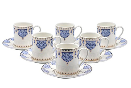 Porcelain Bone China Espresso Turkish Coffee Demitasse Set of 6 Arabesque Pattern Cups + Saucers (Blue)
