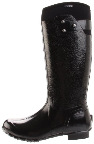 Bogs Women S Rider Emboss Fashion Rain Boot Black 8 M Us