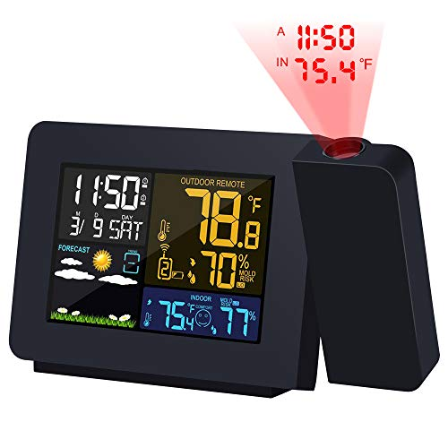 Kalawen Weather Station Projection Alarm Clock Color Multifunctional Time Date Weekday Temperature Humidity LCD Dispaly