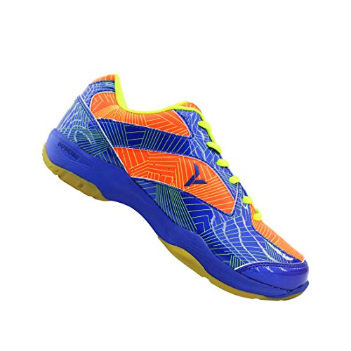 Young Professional Badminton Court Shoes Non-Marking Rubber Outsole (9, Navy/Orange(Y-SE1))