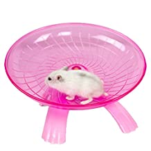 Hamster Flying Saucer Exercise Wheel Jogging Running Silent Spinner for Rat Gerbils Mice Chinchilla Guinea Pig Squirrel and Other Small Animal (Red)
