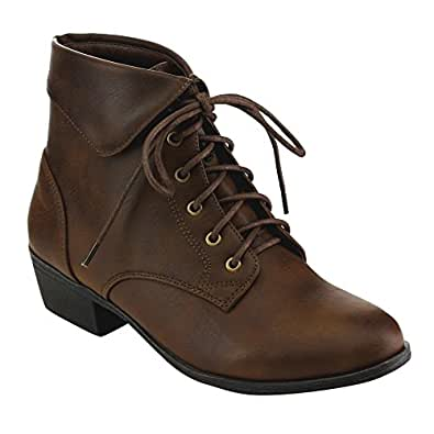 Top Moda EC89 Women's Foldover Lace Up Low Chunky Heel Ankle Booties (5, Brown)