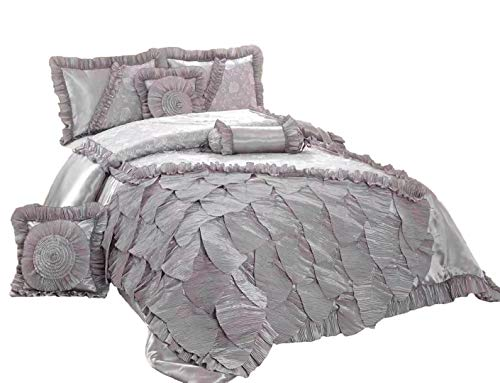Tache Silver Rose Petals Faux Silk Satin Lace Mesh Pleated Floral Ruffles Elegant Luxury Romantic Victorian Comforter Set, Queen (Elegant Silver Satin)