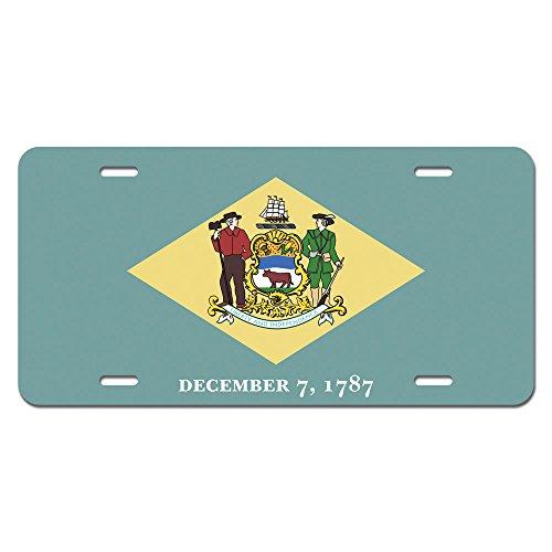 Delaware State Flag Novelty Metal Vanity License Tag Plate