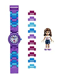 LEGO Friends 8020165 Olivia Kids Buildable Watch with Link Bracelet and Minifigure | purple/white | plastic | 25mm case diameter| analog quartz | boy girl | official