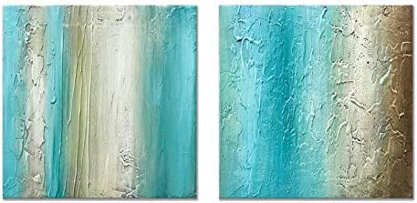 Alenoss 100 Hand Painted Oil Paintings on Canvas Wall Art 12×12 inch x2pcs Modern Light Blue Abstract Colorful Artwork for Home Walls Gallery Wrapped Framed Living Room Bedroom Wall Decor