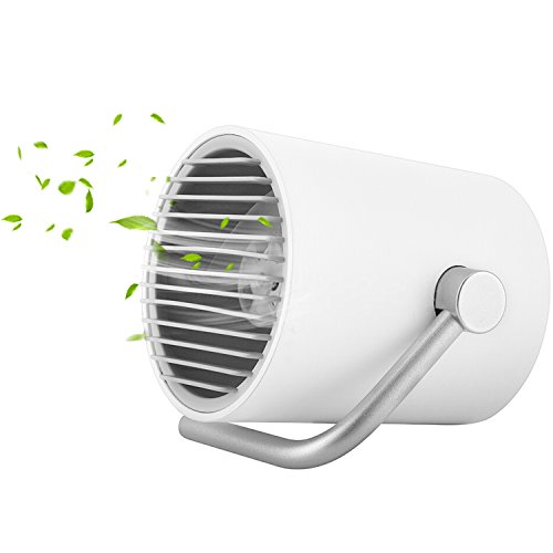 Desk USB Fan, Effeltch Small Personal Fan Mini Portable USB Fan with Dual Motor Driver, Double Turbo Blades, Whisper Quite for Home, Office, Outdoor Travel (White) by effeltch