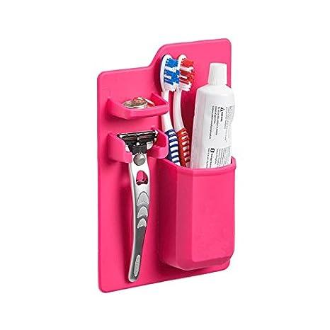 Shop Story - Soporte organizador almacenamiento de baño para cepillo de dientes, pasta de dientes, afeitadora corporal, joyas etc- Color Rosa: Amazon.es: ...