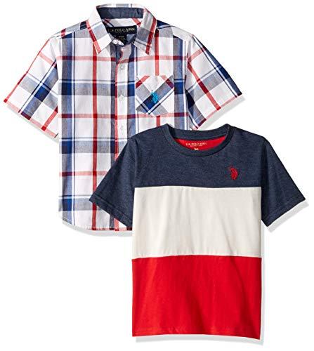 U.S. Polo Assn. Boys' Little Short Sleeve Woven T-Shirt Set, Red Multi Plaid, 7