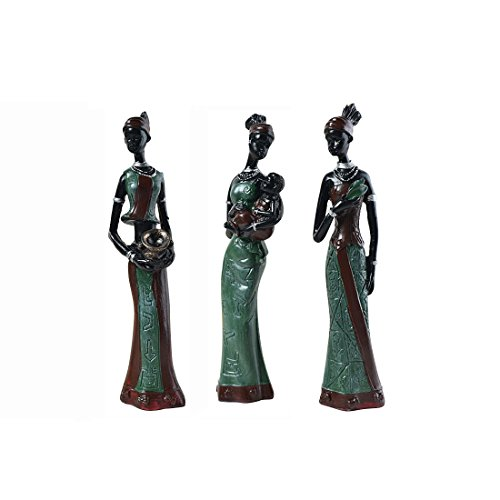 African American Figurine - TBW African Tribal Women Collectible Figurines for Mother's Gifts,Green,Pack of 3