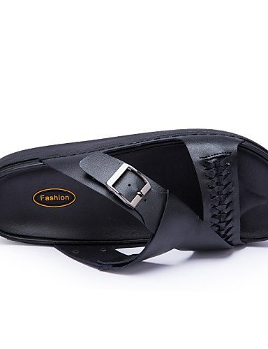 ShangYi Herren Sandaletten Herrenschuhe-Outddor / Lässig / Sportlich-Pantoffeln & Holzschuhe-Leder-Schwarz / Weiß / Grau Black
