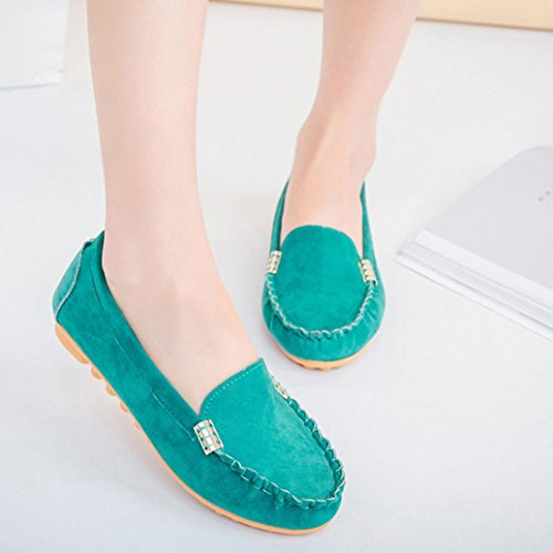 Transer Ladies Leisure Flats Shoes, Women Slip On Comfy Casual Work Loafers Lazy Shoes Green