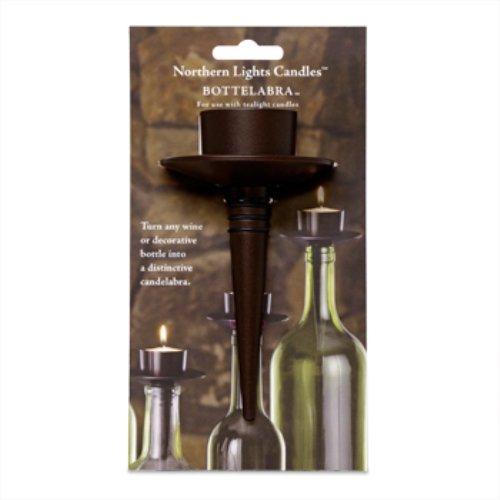 Northern Lights Candles Wine Bottle Bottelabra Bronze Tea Light Holder