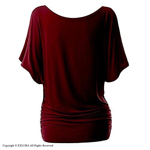 A Tunica Taglie Con Corte Exlura Top Inclusa Forti Scoperte Maniche Blusa collana Spalline Donna Rosso xwY4xCqXnU