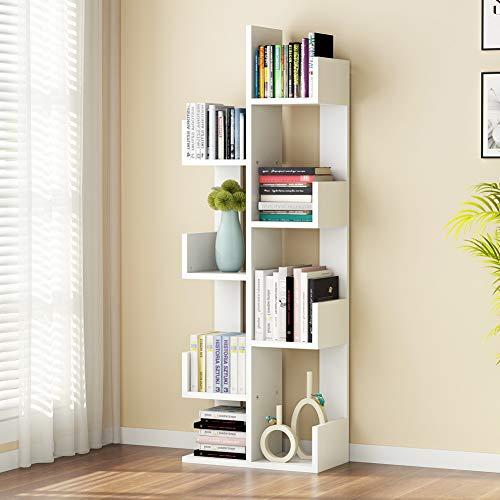 Tribesigns 8-Shelf Tree Bookshelf, Modern Bookcase Book Rack Display Storage Organizer Shelves for CDs, Records, Books, Home Office Deco (White) (Wide 20 Bookshelf)