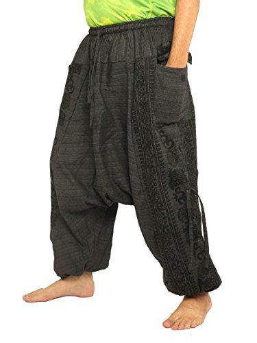 jing shop Harem Pants Boho Hippie Cultural Pattern Print Cotton Black